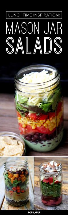 Inspiration for mason jar salads. Love adding quinoa and roasted veggies.