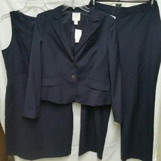 NWT J crew factory blazer/pants/dress set  14 navy Two button.  Navy, subtle pinstripe.  Brand new condition.  Lightweight great for summer.  If you are looking for a conservative interview suit that is not too heavy, you found it!  Sheath dress and pants sold with.  See the not for sale listing for the details.   Feel free to make a reasonable offer! J. Crew Factory Jackets & Coats Blazers