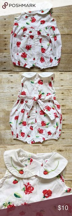 Vintage Roses Romper Adorable vintage romper for a baby girl! Has a small yellow stain on one of the collars as pictured. Otherwise great condition! Bottoms Jumpsuits & Rompers