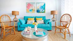 beach cottage living room with turquoise sofa