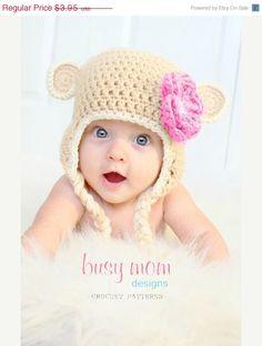 SALE CROCHET Hat PATTERN Sweet Monkey Hat by BusyMomDesigns