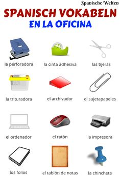 With these Spanish vocabulary words for office supplies you can easily . - Teaching spanish - New education Spanish Grammar, Spanish Vocabulary, Spanish Words, Spanish Language Learning, Teaching Spanish, Vocabulary Words, Teaching Vocabulary, Spanish Lesson Plans, Spanish Lessons