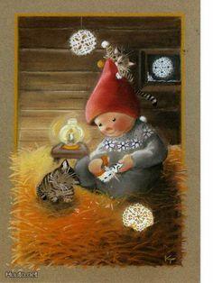special noel - Page 3 Swedish Christmas, Noel Christmas, Vintage Christmas Cards, Christmas Cats, Christmas Ornaments, Xmas, Illustration Noel, Winter Illustration, Christmas Illustration