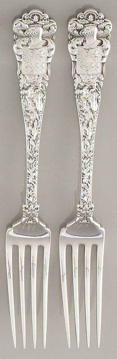 Tiffany 2 Silver Dinner Forks, Vanderbilt : Tiffany & Co. Sterling Silver Flatware, Silver Spoons, Silver Plate, Vintage Silver, Antique Silver, Gilded Age, Metal, Tiffany, Decoration