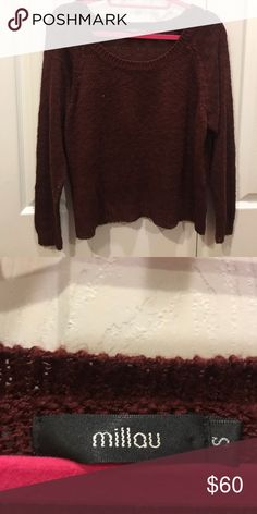 Milau sweater PERFECT CONDITION burgundy Milau sweater!! Light and comfortable for summer!! Sweaters Crew & Scoop Necks