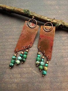 Geometric+Jewelry+/+Assymetric+Earrings+/+Copper+by+Lammergeier,+$36.00