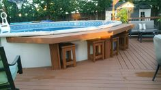 Above Ground Pool Landscaping, Above Ground Pool Decks, Backyard Pool Landscaping, Backyard Pool Designs, Small Backyard Pools, In Ground Pools, Small Pools, Pool Bar, Pool With Deck