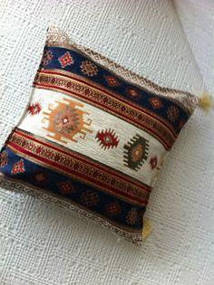 "Turkish Ottoman Jacquard Pillow Cover Double Side Zippered 17""x17"" DARK BLUE"
