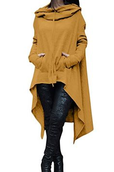 Women Autumn Casual Long Sleeve Hooded Pullover Asymmetric Midi Sweatshirt Plus Size Yellow L ** Learn more by visiting the image link.  This link participates in Amazon Service LLC Associates Program, a program designed to let participant earn advertising fees by advertising and linking to Amazon.com.