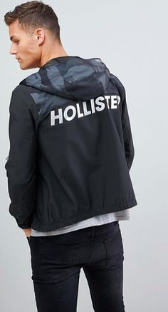 7195fac7e5393 Hollister unlined lightweight hooded jacket with black camo & solid at  asos.com
