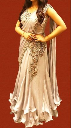 Buy Antique White Color Pre-Stitched Saree Gown by Akanksha Singh at Fresh Look Fashion Indian Fashion Dresses, Indian Gowns Dresses, Dress Indian Style, Indian Designer Outfits, Satin Dresses, Fancy Sarees Party Wear, Saree Designs Party Wear, Designer Party Wear Dresses, Half Saree Designs