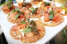 It's #SuperbowlSunday and one of our private events calls for these exquisite Tostaditas de Salmon appetizers. Rich, savory seafood garnished with tangy Salsa de Alcaparra and served on a crisp, freshly-made tortilla chip.   More: https://www.sohotaco.com/2016/02/07/tostaditas-de-salmon-ahumado-appetizers-on-superbowl-sunday #tacocatering #lafoodies #weddingideas