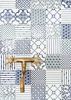 Today I've got a gorgeous round-up of blue and white concrete tiles used in kitchens, bathrooms, and more, to share with you.