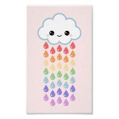 Nuvem bonito com pingos de chuva posters