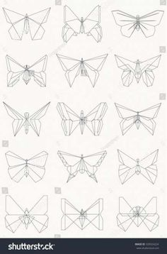 Thin line butterfly icons, Set of origami butterflies, Vector illustration Origami Butterfly Instructions, Origami Butterfly Easy, Origami Flowers Tutorial, Butterfly Logo, Butterfly Drawing, Butterfly Design, Origami Owl Easy, Easy Origami For Kids, Useful Origami