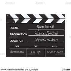 """Shop Black and White Movie Clapboard """"blank"""" invites created by AV_Designs. Personalize it with photos & text or purchase as is! Invitation Paper, Birthday Invitations, Invites, Wedding Invitations, Sweet 16 Birthday, 16th Birthday, Birthday Ideas, Hollywood Birthday Parties, Movie Night Party"""