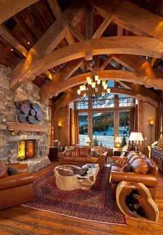 Cabin Home Design .Cabin Home Design Log Home Living, Living Rooms, Living Area, Log Cabin Homes, Log Cabins, Mountain Cabins, Log Cabin Bedrooms, Mountain Houses, Rustic Bedrooms