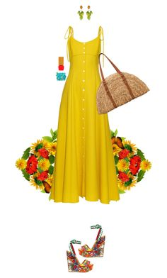 """""""Bright, fresh, and new"""" by s0f1a on Polyvore featuring Rosie Assoulin, San Diego Hat Co., Dolce&Gabbana, Chico's and Habit Cosmetics"""