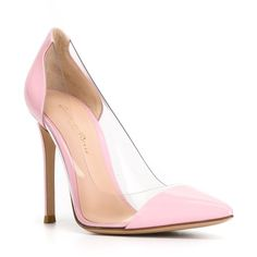 Gianvito Rossi Plexi Pumps ($561) ❤ liked on Polyvore featuring shoes, pumps, pointy toe stilettos, pink pointed toe pumps, high heels stilettos, stiletto pumps and pointed toe stiletto pumps
