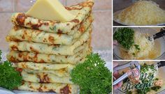 Best Salted Pancakes with Garlic, Cheese and Herbs NejRecept. Quick Recipes, Quick Meals, Bread Recipes, Cooking Recipes, Slovak Recipes, Russian Recipes, A Food, Good Food, Food And Drink