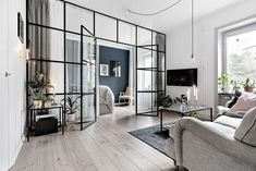 Glass wall living room bedroom