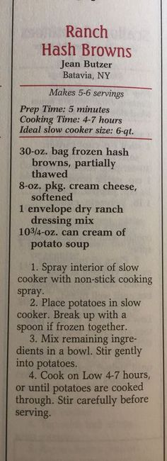 Slow cooker ranch hash browns, a delicious heart attack. Crockpot Dishes, Crock Pot Slow Cooker, Crock Pot Cooking, Slow Cooker Recipes, Crockpot Recipes, Cooking Recipes, Cooking Tips, Side Dish Recipes, New Recipes