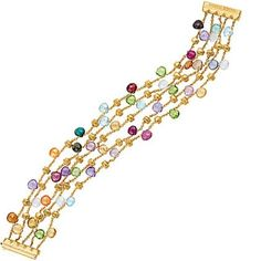 OOoooh. *drool* I love this!   marco bicego paradise bracelet 18kt Yellow Gold with multi-colored gemstones. #jewelry #bracelet #accessories
