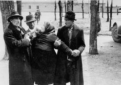 A distraught Jewish woman separated from her family during the selection at Birkenau