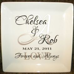 """Personalized Wedding Gift - couple's names and initial on 10-1/2"""" square white plate"""