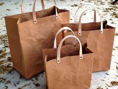 Image of Kraft Fabric Paper Reusable Grocery Tote + Leather Handles