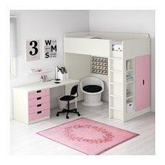 STUVA Comb cama alta c/4 gavetas/2 portas, branco, rosa - 197x99x207 cm - IKEA