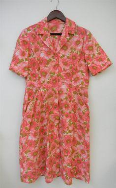 Issues M L Vtg 1960s Vintage 60s Floral Pink by PinkCheetahVintage