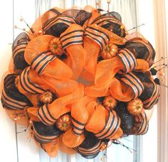 Craft Ideas with Mesh Ribbon | Halloween Mesh Wreath Orange Black Glittered Pumpkin