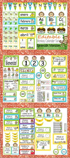 Getting your room ready for school? This calendar set is a great addition to anyone's Monkey Themed classroom! I'm so excited about this packet because it is editable, and thus enables you to customize your calendar to meet your needs. Spanish Classroom, Teaching Spanish, Bilingual Classroom, Spanish Lessons, Learn Spanish, Learning Resources, Classroom Resources, Creative Teaching, Teaching Ideas