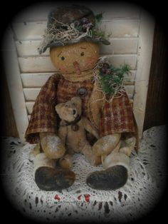 Primitive Olde Snowman Doll With Teddy Bear #NaivePrimitive