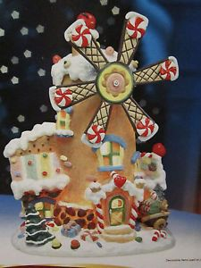 Animated Candy Mill Lighted Gingerbread House Christmas Village Windmill 2005 | eBay
