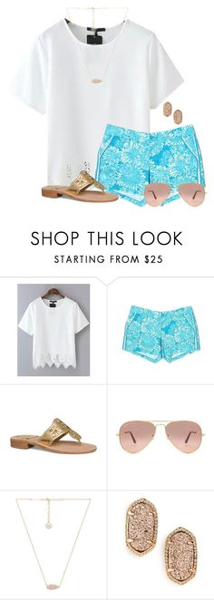 """""""~Weekend Prep~"""" by auburnlady ❤ liked on Polyvore featuring Lilly Pulitzer, Jack Rogers, Ray-Ban and Kendra Scott"""