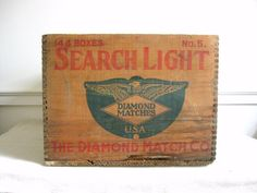 Vintage Crate with Advertising, Search Light Match Crate, Antique Wood Crate, Toy Box Vintage Wood Crates, Pop Bottles, Toy Boxes, How To Antique Wood, Storage Containers, Red And Blue, Stencils, Advertising
