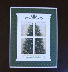 Stampin Up Handmade Christmas Tree Window Card - Uses embossing folder