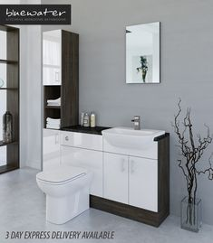 White / Mali Wenge Bathroom Fitted Furniture 1500mm With Tall Unit · $785.00 Diy Bathroom Decor, Bathroom Storage, Toilet And Sink Unit, Fitted Bathroom Furniture, Sink Units, Beautiful Bathrooms, Furniture Deals, Home Remodeling, Room Ideas