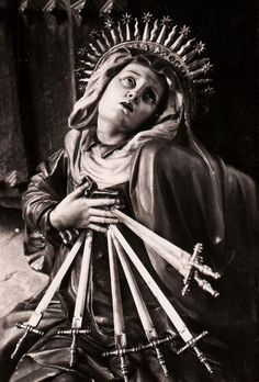"allaboutmary: "" Mater Dolorosa Our Lady of Seven Sorrows in the church of San Miguel in Valladolid, Spain. Blessed Mother Mary, Blessed Virgin Mary, Religious Icons, Religious Art, Madonna, La Salette, Our Lady Of Sorrows, Queen Of Heaven, Mama Mary"