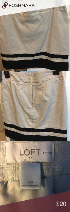 Loft skirt Black and Tan linen skirt.  Lined. LOFT Skirts