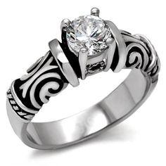 CZ Round Brilliant Engagement Ring