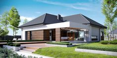 Here, we are presenting you a detailed plan of a house intended for multi-member family that wants modern interiors and exteriors. This beautiful single-story house is characterized by impressive shape with a large garage. Modern House Plans, Modern House Design, Circle House, Concept Home, Grey Houses, House Extensions, Story House, Facade House, Home Fashion