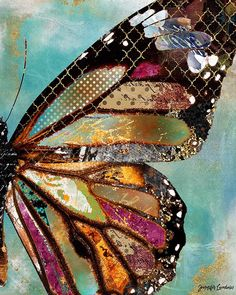 Blue Skies Butterfly Art Print - This is a print of my original mixed media design. Its printed on acid free paper with an elegant l - Paper Collage Art, Collage Art Mixed Media, Paper Art, Mixed Media Artists, Butterfly Painting, Butterfly Wings, Blue Butterfly, Art Papillon, Fabric Art