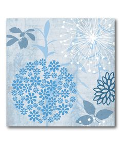 Look what I found on #zulily! Blue & White Flowers Wrapped Canvas #zulilyfinds
