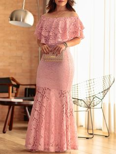 Solid Lace Ruffles Layered Fishtail Maxi Dress We Miss Moda is a leading Women's Clothing Store. Offering the newest Fashion and Trending Styles. African Wear Dresses, Latest African Fashion Dresses, Stylish Dresses, Elegant Dresses, Fishtail Maxi Dress, Lace Dress Styles, Trend Fashion, Style Fashion, Lace Sheath Dress