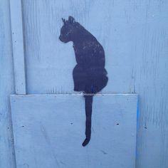 Black cat graffiti Gloucester