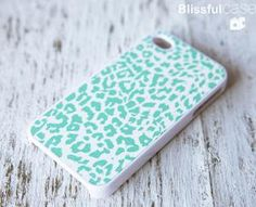 iphone 4 case Mint Leopard case by BlissfulCASE on Etsy
