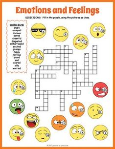 Feelings and Emotions Crossword Puzzle - ingilizce - Emotions Game, Feelings Games, Emotions Preschool, Emotions Activities, Feelings Words, Feelings And Emotions, Word Puzzles For Kids, Printable Crossword Puzzles, Inside Out Emotions